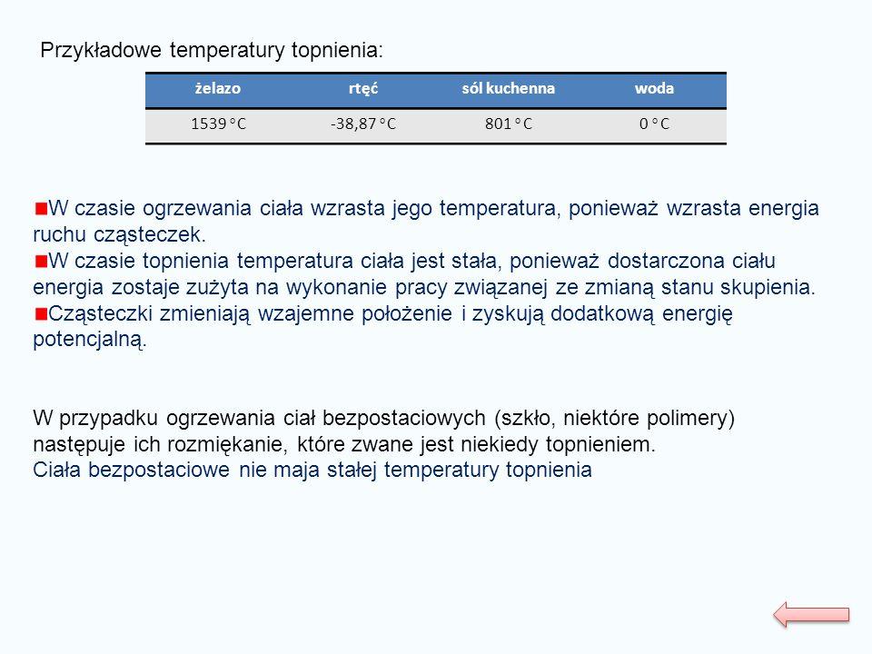 Przykładowe temperatury topnienia: