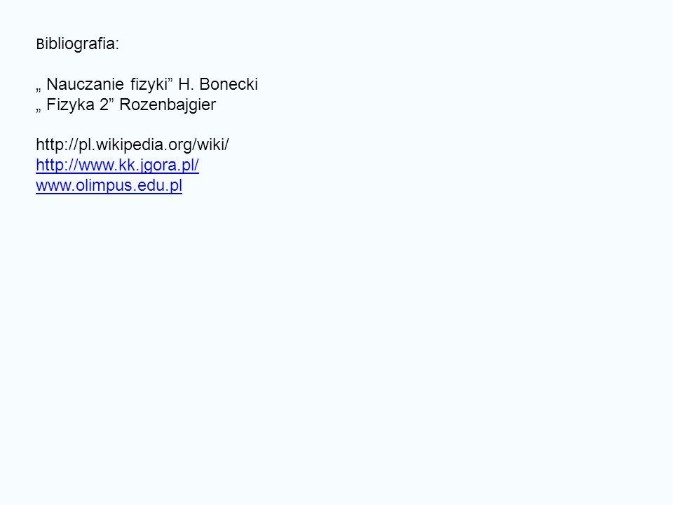 """Bibliografia: """" Nauczanie fizyki H. Bonecki. """" Fizyka 2 Rozenbajgier. http://pl.wikipedia.org/wiki/"""