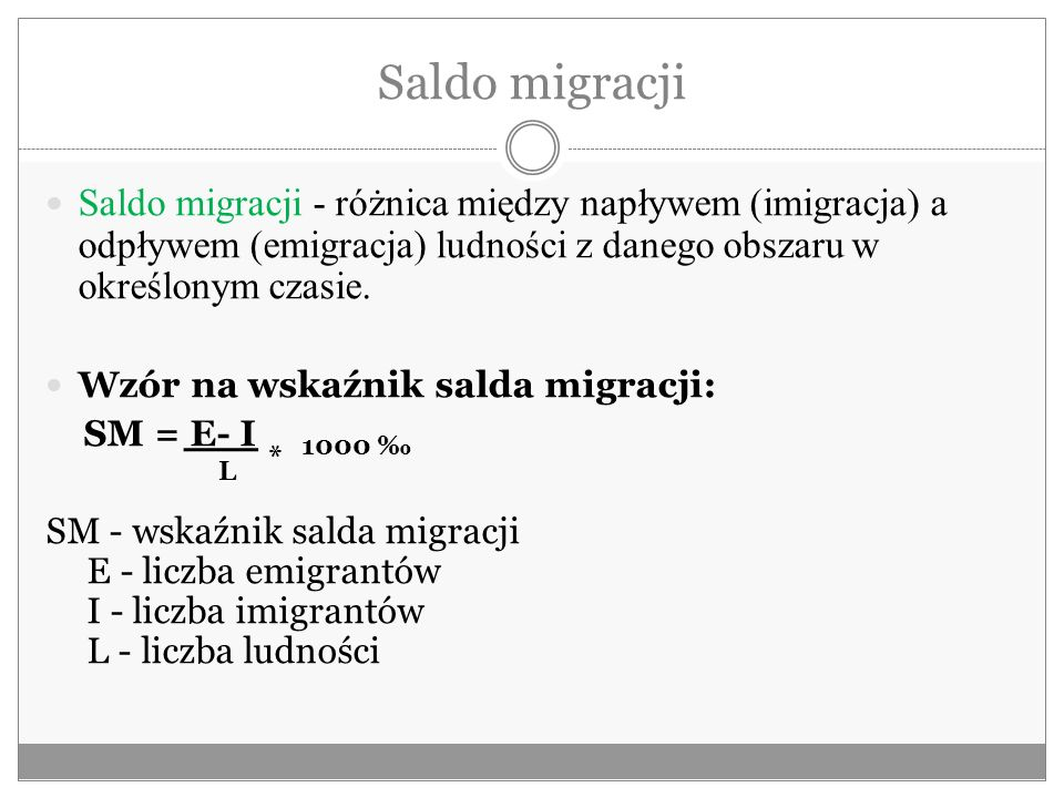 Saldo migracji Saldo migracji - różnica między napływem (imigracja) a odpływem (emigracja) ludności z danego obszaru w określonym czasie.