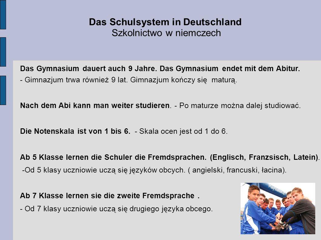 Das Schulsystem in Deutschland Szkolnictwo w niemczech