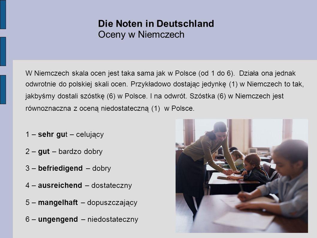 Die Noten in Deutschland Oceny w Niemczech