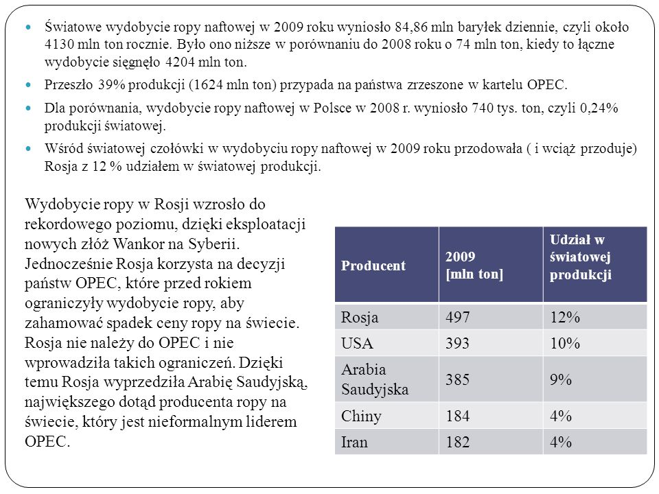 Światowe wydobycie ropy naftowej w 2009 roku wyniosło 84,86 mln baryłek dziennie, czyli około 4130 mln ton rocznie. Było ono niższe w porównaniu do 2008 roku o 74 mln ton, kiedy to łączne wydobycie sięgnęło 4204 mln ton.