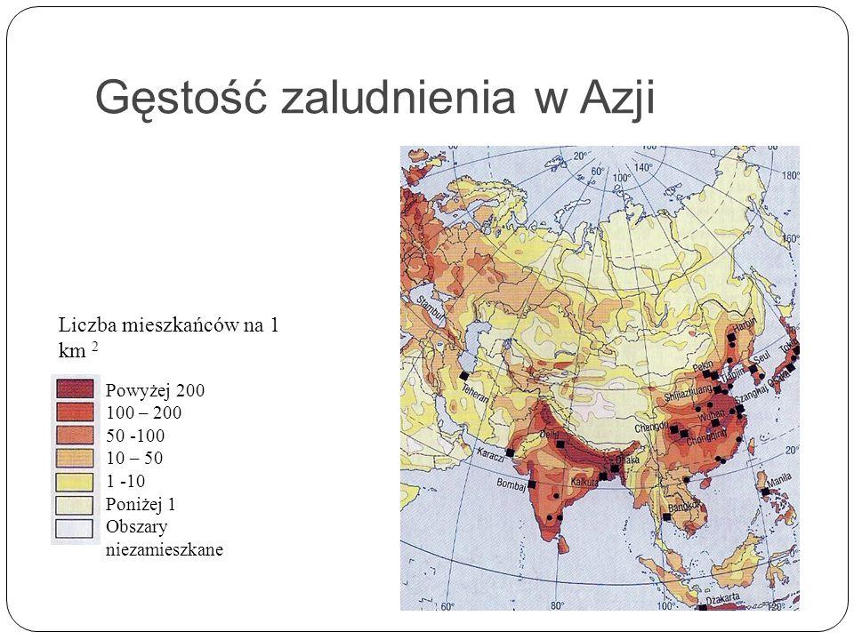 Gęstość zaludnienia w Azji