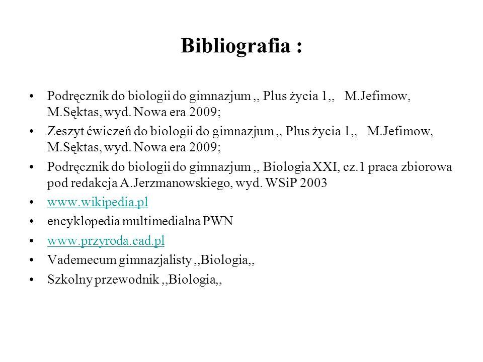 Bibliografia : Podręcznik do biologii do gimnazjum ,, Plus życia 1,, M.Jefimow, M.Sęktas, wyd. Nowa era 2009;