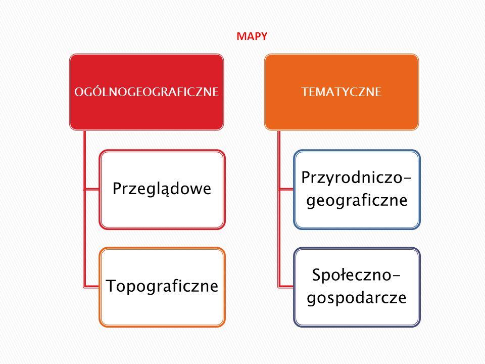 MAPY OGÓLNOGEOGRAFICZNE Przeglądowe Topograficzne TEMATYCZNE