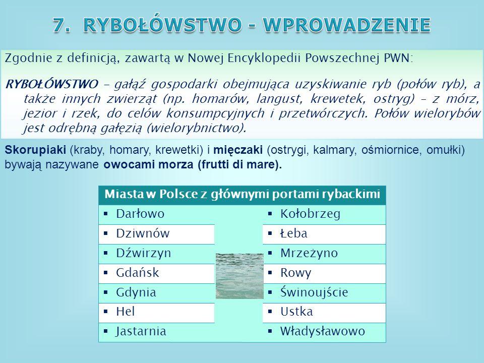Miasta w Polsce z głównymi portami rybackimi