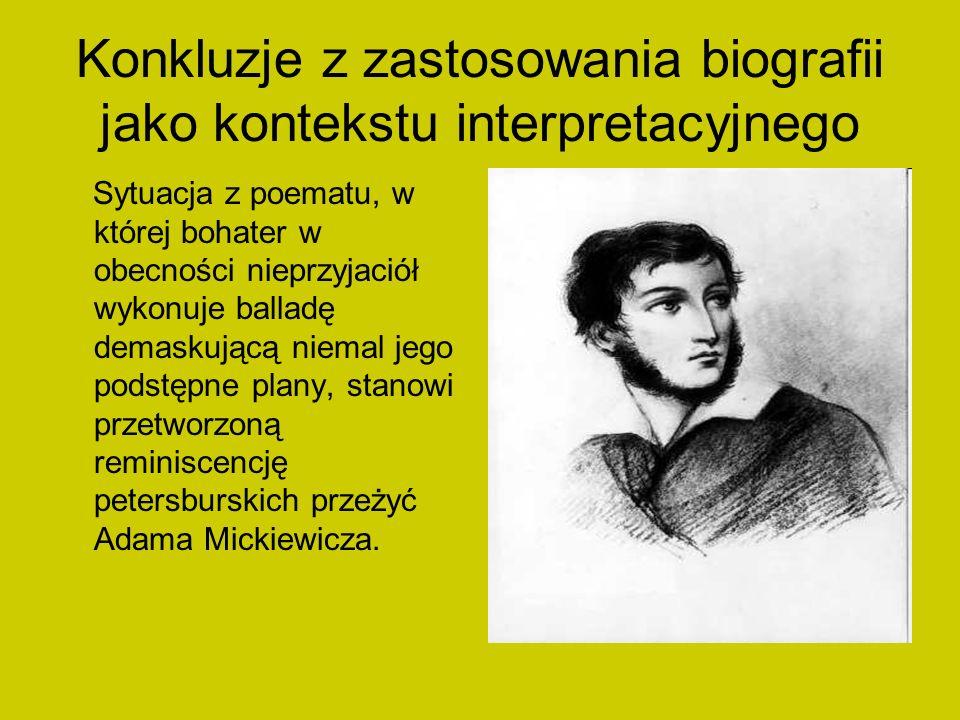Konkluzje z zastosowania biografii jako kontekstu interpretacyjnego