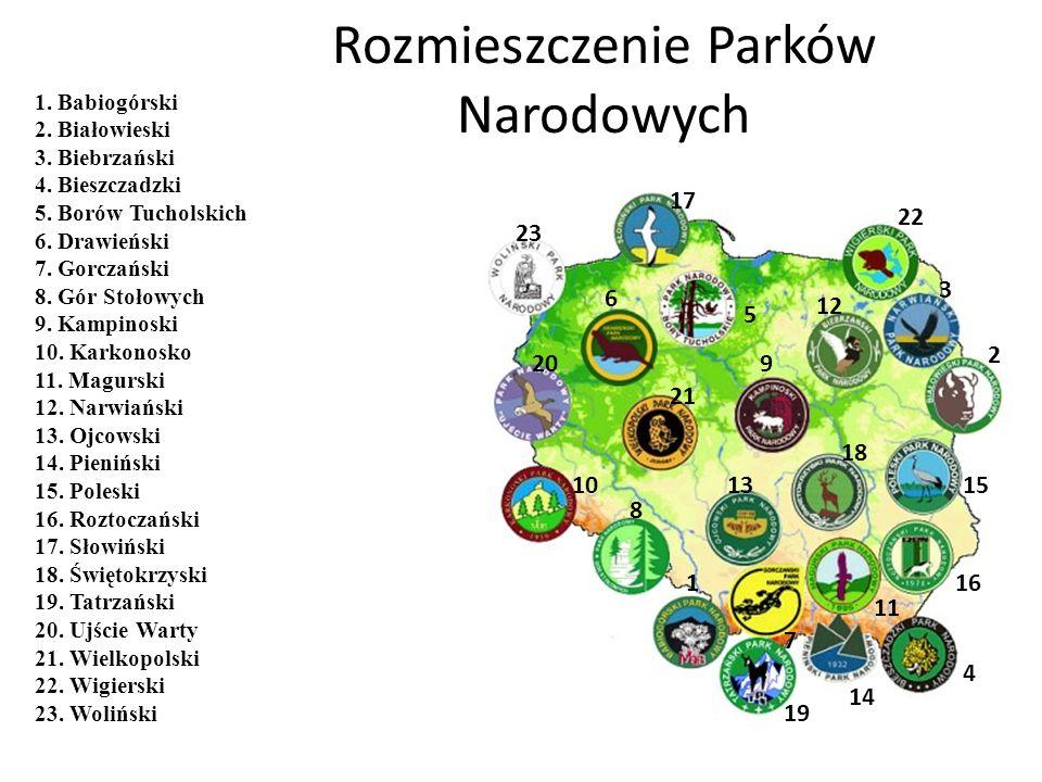 Rozmieszczenie Parków Narodowych