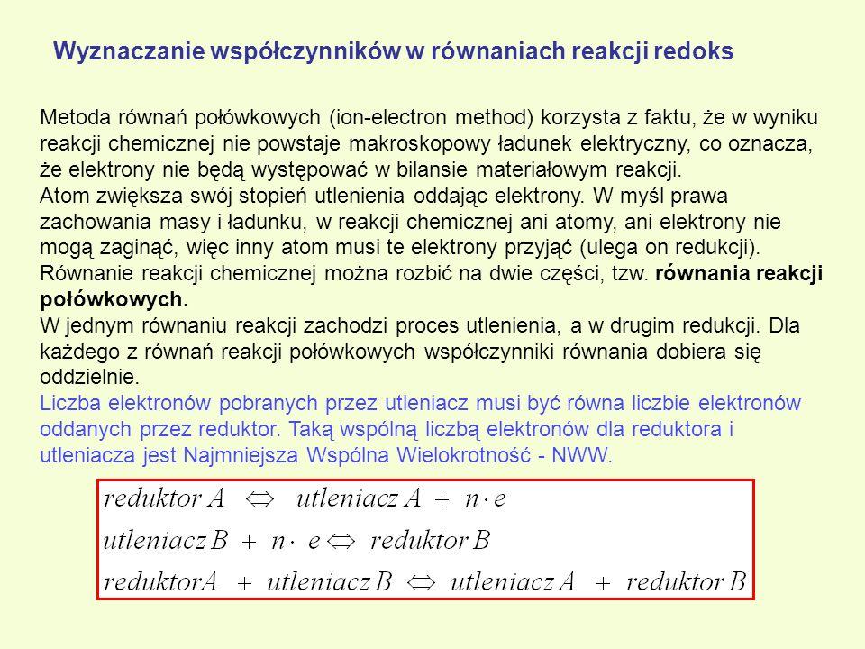 Wyznaczanie współczynników w równaniach reakcji redoks