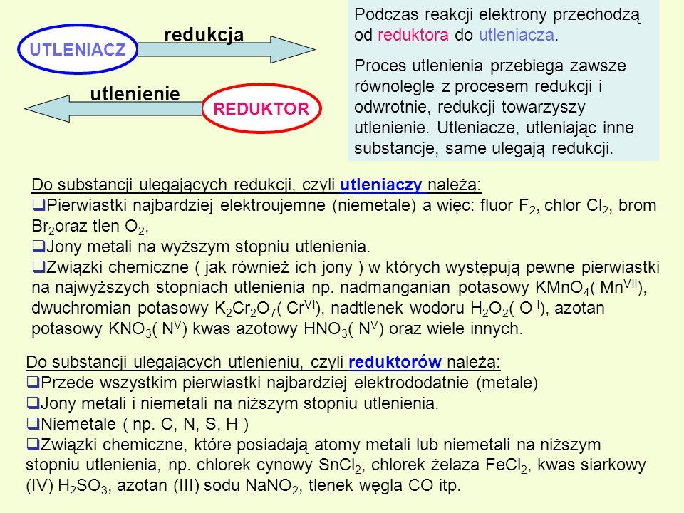 Podczas reakcji elektrony przechodzą od reduktora do utleniacza.