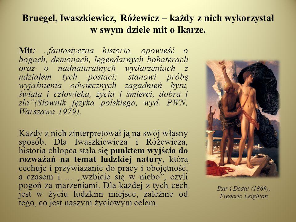 Bruegel, Iwaszkiewicz, Różewicz – każdy z nich wykorzystał w swym dziele mit o Ikarze.