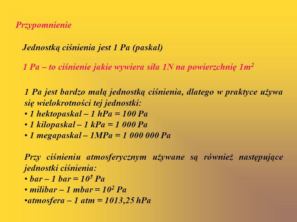 Przypomnienie Jednostką ciśnienia jest 1 Pa (paskal) 1 Pa – to ciśnienie jakie wywiera siła 1N na powierzchnię 1m2.