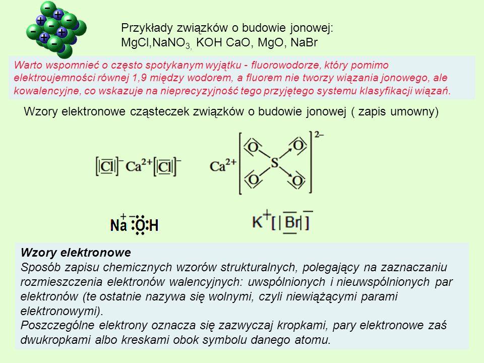 Przykłady związków o budowie jonowej: MgCl,NaNO3, KOH CaO, MgO, NaBr