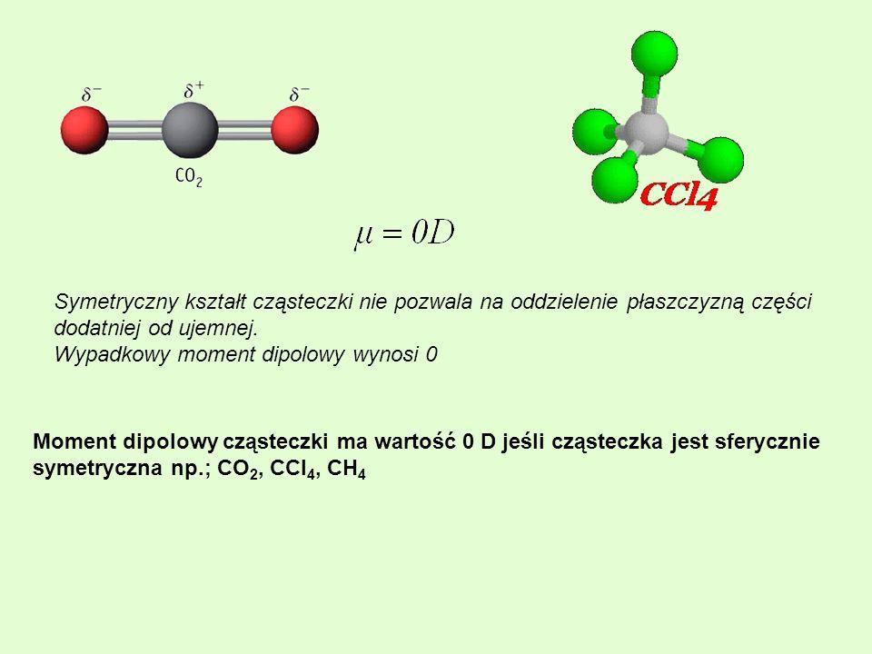 Symetryczny kształt cząsteczki nie pozwala na oddzielenie płaszczyzną części dodatniej od ujemnej. Wypadkowy moment dipolowy wynosi 0