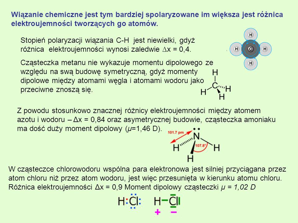 Wiązanie chemiczne jest tym bardziej spolaryzowane im większa jest różnica elektroujemności tworzących go atomów.