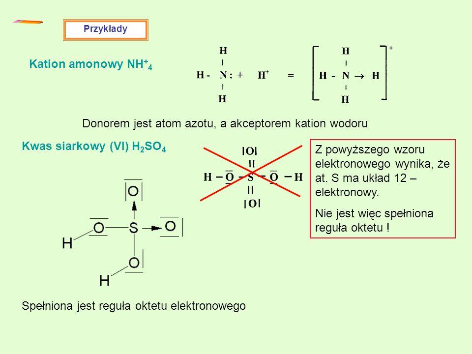 Donorem jest atom azotu, a akceptorem kation wodoru