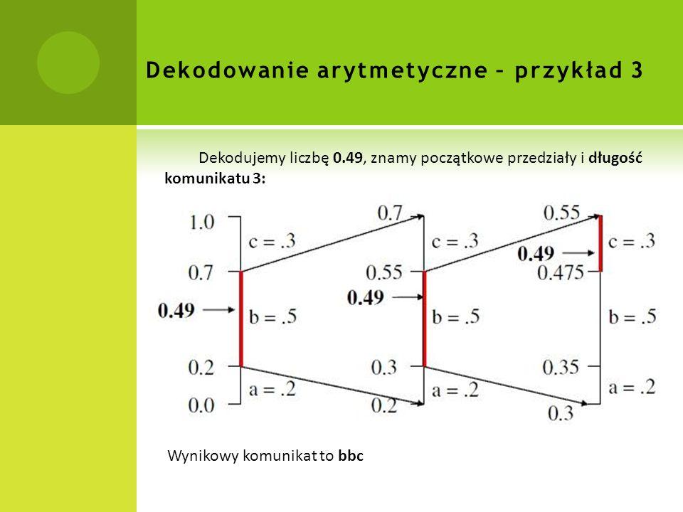 Dekodowanie arytmetyczne – przykład 3