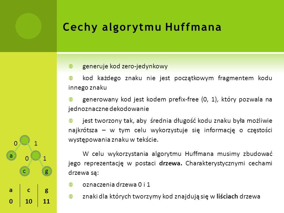 Cechy algorytmu Huffmana