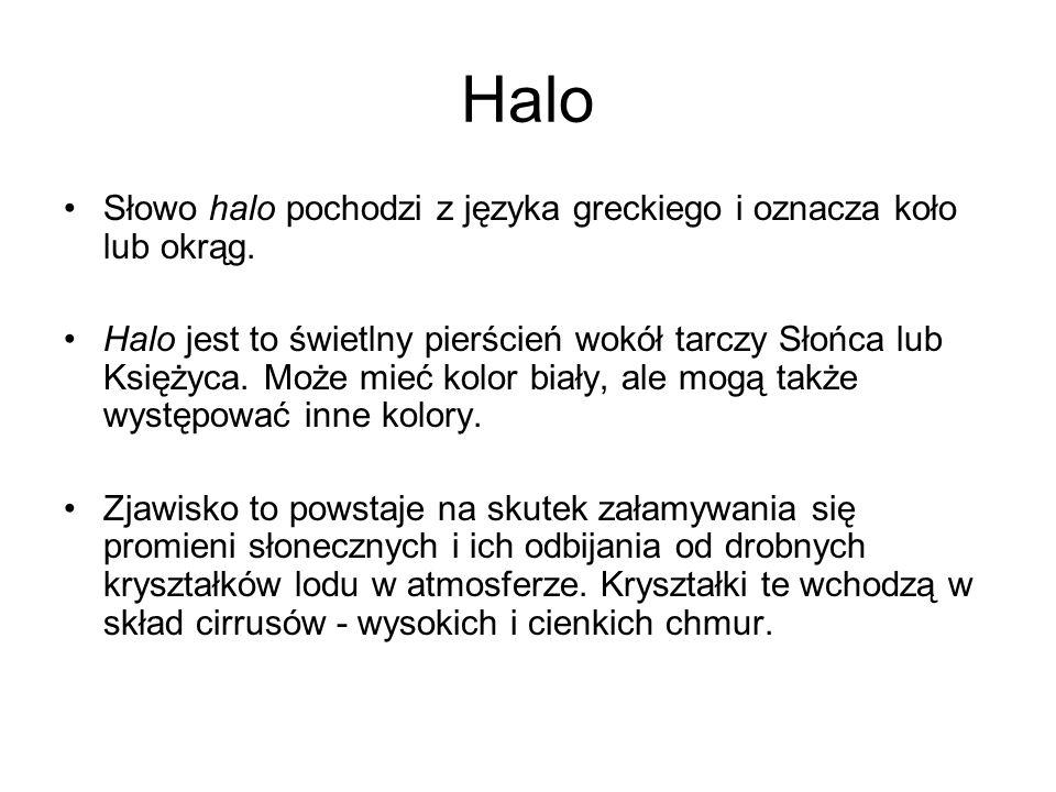 Halo Słowo halo pochodzi z języka greckiego i oznacza koło lub okrąg.
