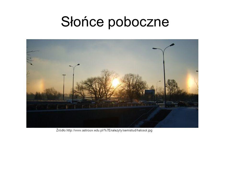 Słońce poboczne Źródło:http://www.astrouw.edu.pl/%7Enalezyty/semistud/halosol.jpg