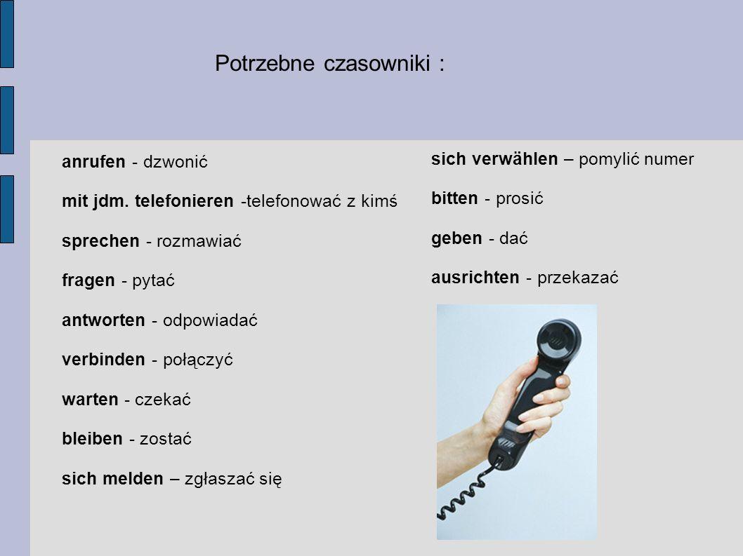 Potrzebne czasowniki :