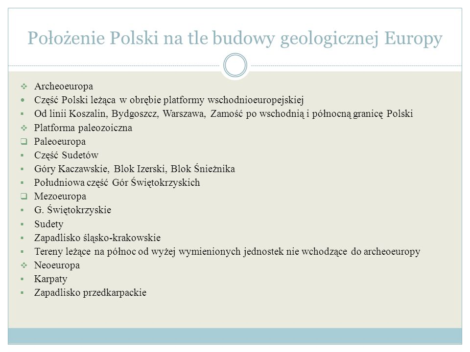 Położenie Polski na tle budowy geologicznej Europy
