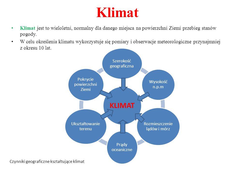 Klimat Klimat jest to wieloletni, normalny dla danego miejsca na powierzchni Ziemi przebieg stanów pogody.