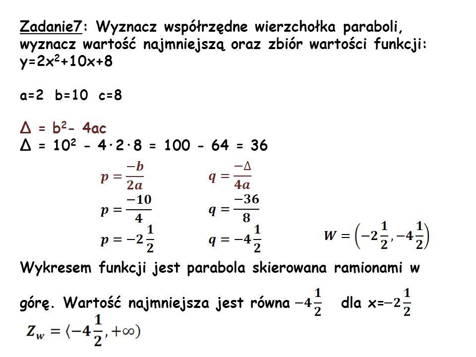 Wykresem funkcji jest parabola skierowana ramionami w