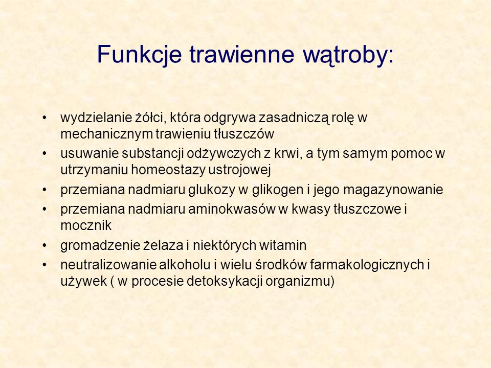 Funkcje trawienne wątroby: