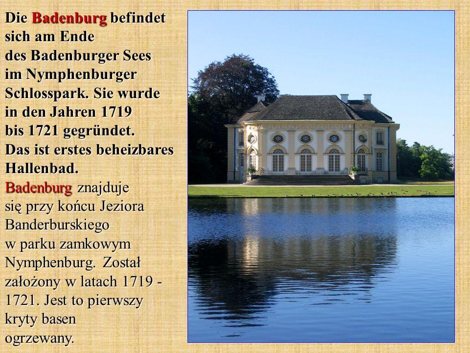 Die Badenburg befindet sich am Ende des Badenburger Sees im Nymphenburger Schlosspark.
