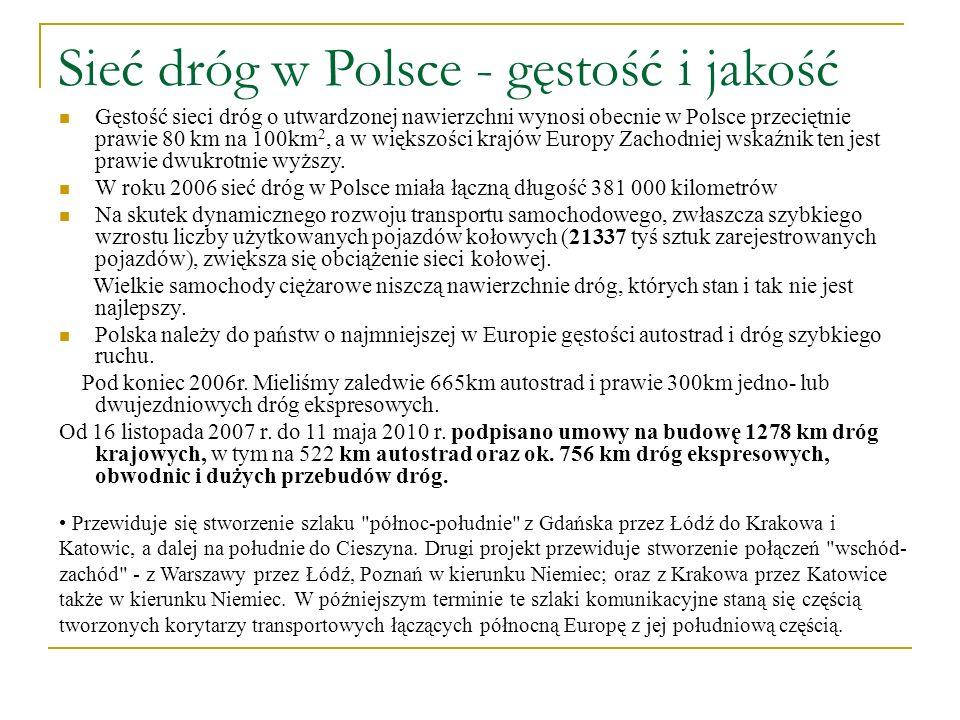 Sieć dróg w Polsce - gęstość i jakość