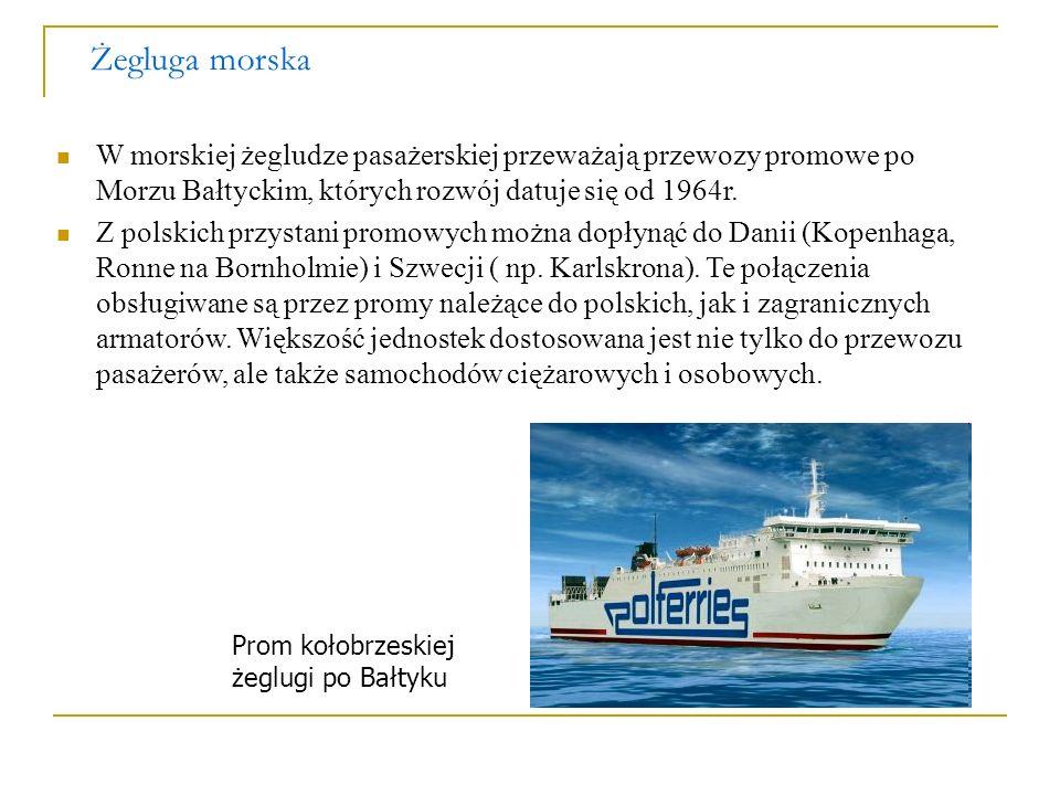 Żegluga morskaW morskiej żegludze pasażerskiej przeważają przewozy promowe po Morzu Bałtyckim, których rozwój datuje się od 1964r.