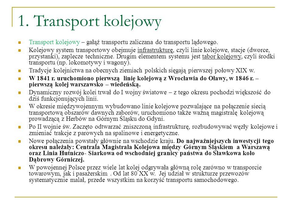 1. Transport kolejowy Transport kolejowy – gałąź transportu zaliczana do transportu lądowego.