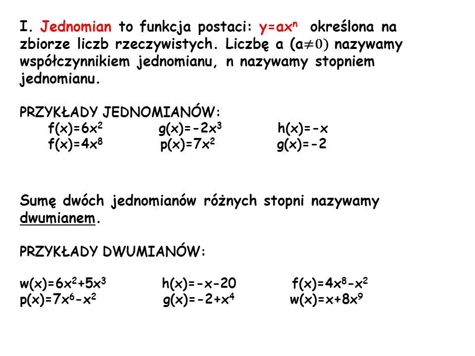 Sumę dwóch jednomianów różnych stopni nazywamy dwumianem.