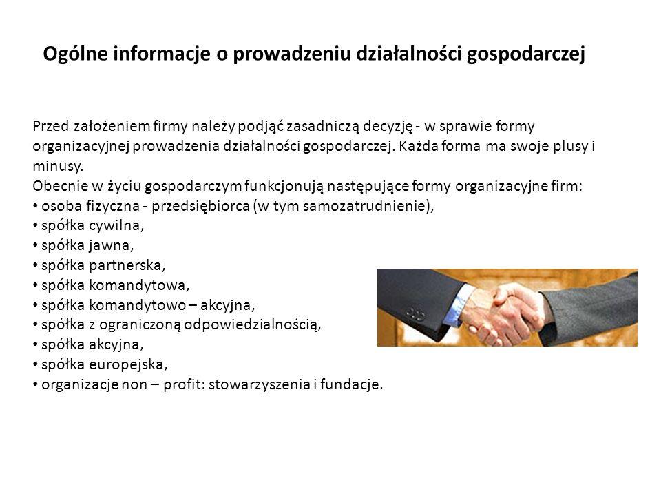 Ogólne informacje o prowadzeniu działalności gospodarczej
