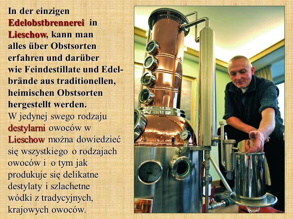 In der einzigen Edelobstbrennerei in Lieschow, kann man alles über Obstsorten erfahren und darüber wie Feindestillate und Edel-brände aus traditionellen, heimischen Obstsorten hergestellt werden.
