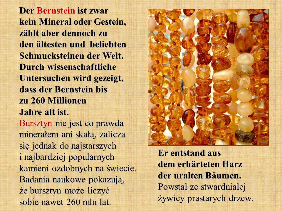 Der Bernstein ist zwar kein Mineral oder Gestein, zählt aber dennoch zu den ältesten und beliebten Schmucksteinen der Welt. Durch wissenschaftliche Untersuchen wird gezeigt, dass der Bernstein bis zu 260 Millionen Jahre alt ist. Bursztyn nie jest co prawda minerałem ani skałą, zalicza się jednak do najstarszych i najbardziej popularnych kamieni ozdobnych na świecie. Badania naukowe pokazują, że bursztyn może liczyć sobie nawet 260 mln lat.