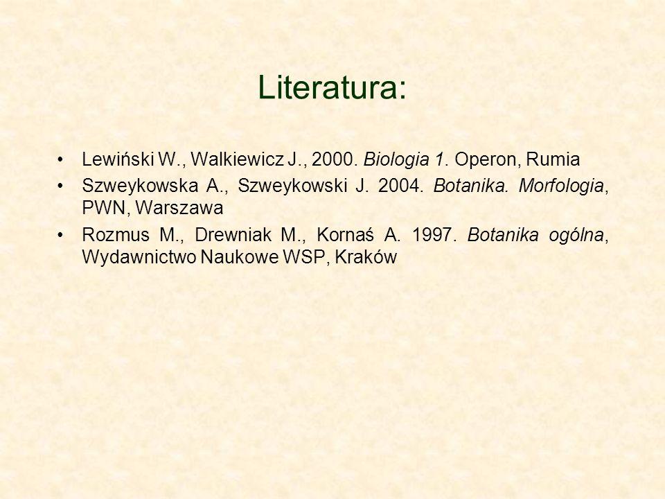 Literatura:Lewiński W., Walkiewicz J., 2000. Biologia 1. Operon, Rumia. Szweykowska A., Szweykowski J. 2004. Botanika. Morfologia, PWN, Warszawa.