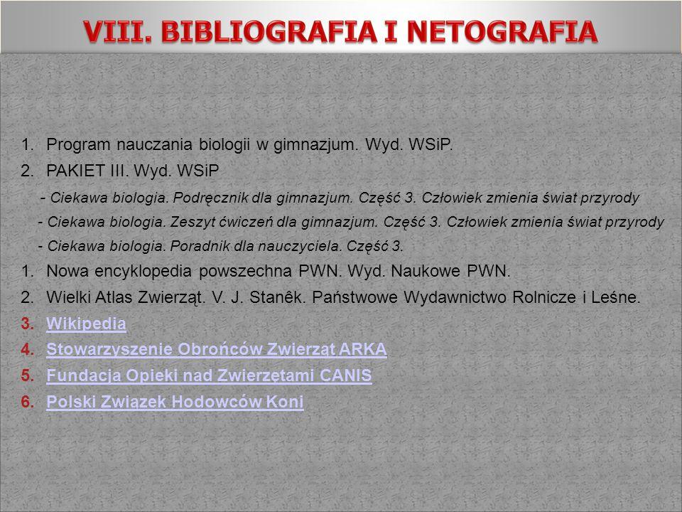 Program nauczania biologii w gimnazjum. Wyd. WSiP.