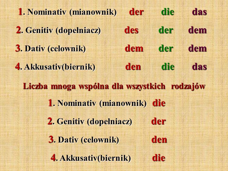 1. Nominativ (mianownik) der die das