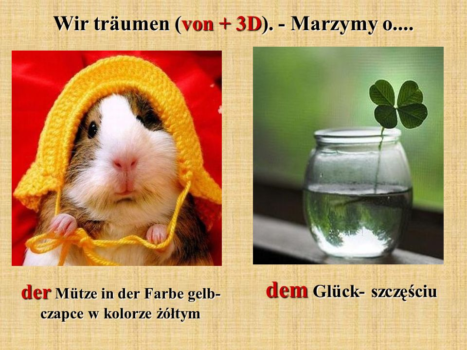 dem Glück- szczęściu Wir träumen (von + 3D). - Marzymy o....