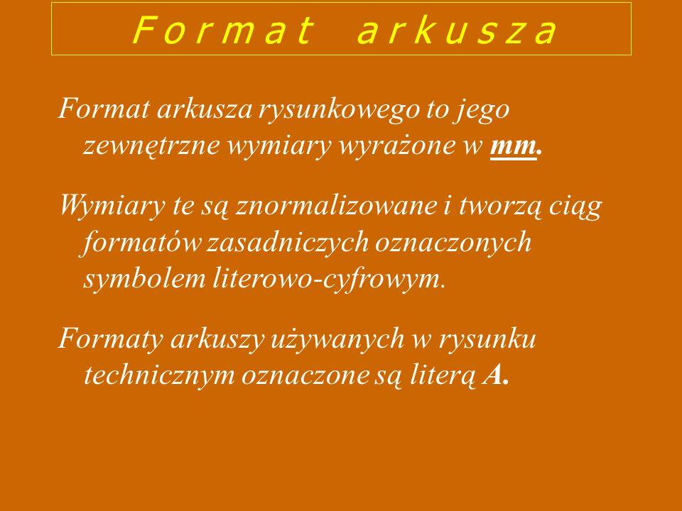 F o r m a t a r k u s z a Format arkusza rysunkowego to jego zewnętrzne wymiary wyrażone w mm.
