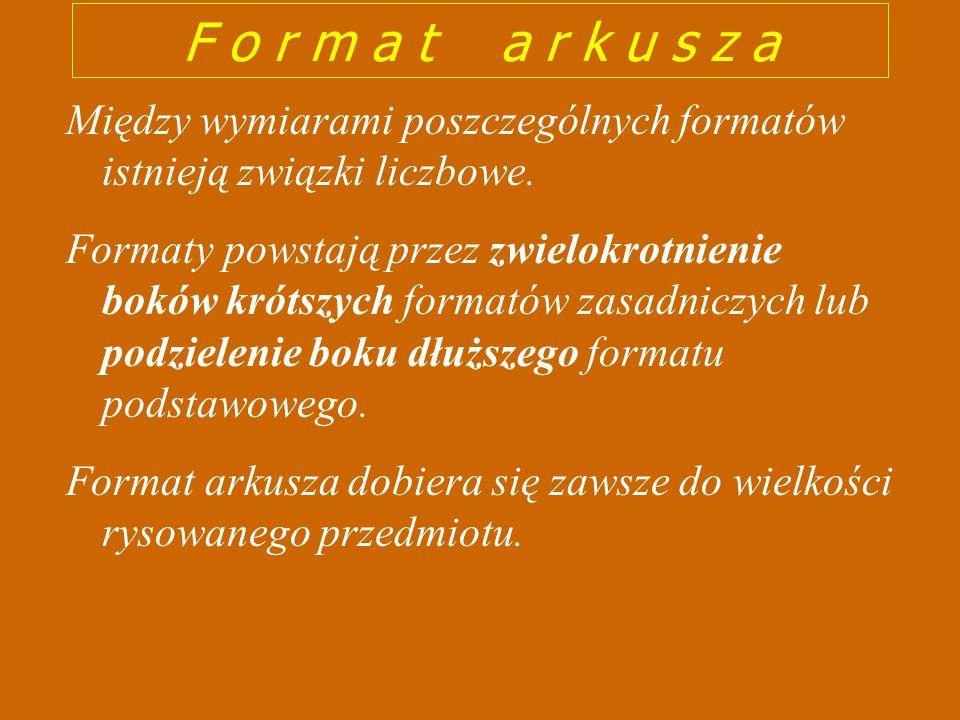 F o r m a t a r k u s z aMiędzy wymiarami poszczególnych formatów istnieją związki liczbowe.