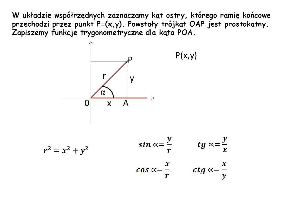 W układzie współrzędnych zaznaczamy kąt ostry, którego ramię końcowe przechodzi przez punkt P=(x,y). Powstały trójkąt OAP jest prostokątny. Zapiszemy funkcje trygonometryczne dla kąta POA.