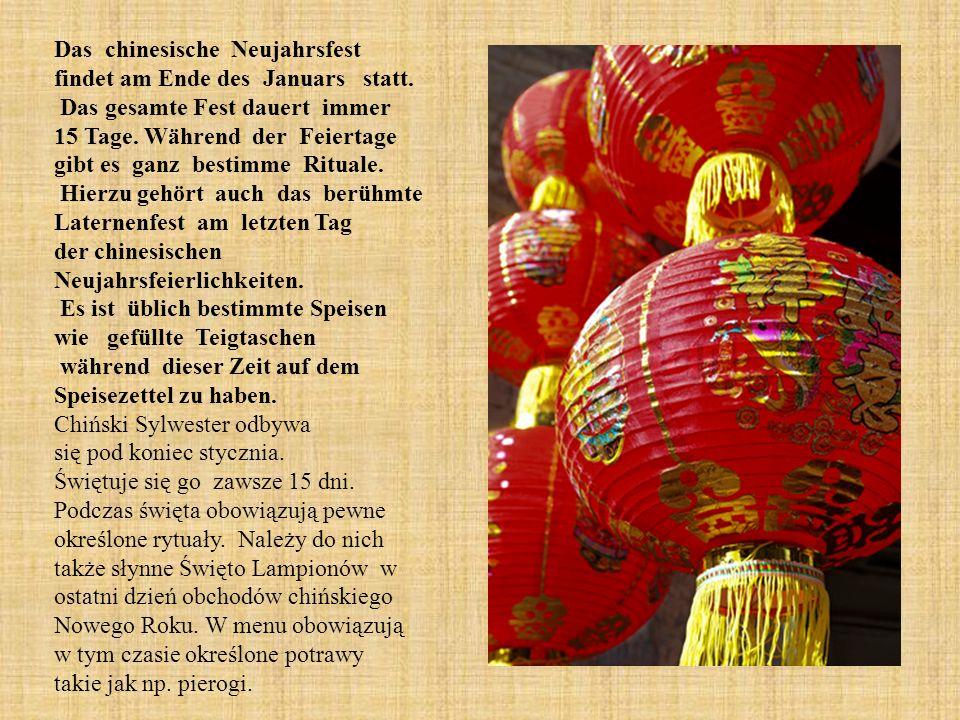 Das chinesische Neujahrsfest findet am Ende des Januars statt.