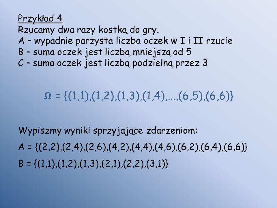 𝛀 = {(1,1),(1,2),(1,3),(1,4),...,(6,5),(6,6)} Przykład 4