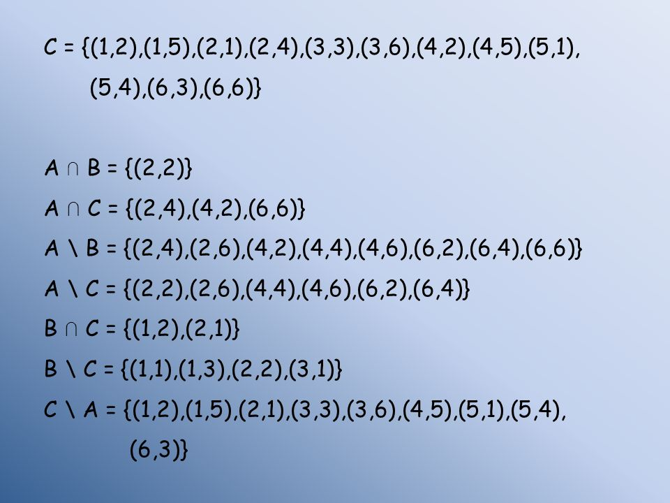 C = {(1,2),(1,5),(2,1),(2,4),(3,3),(3,6),(4,2),(4,5),(5,1),