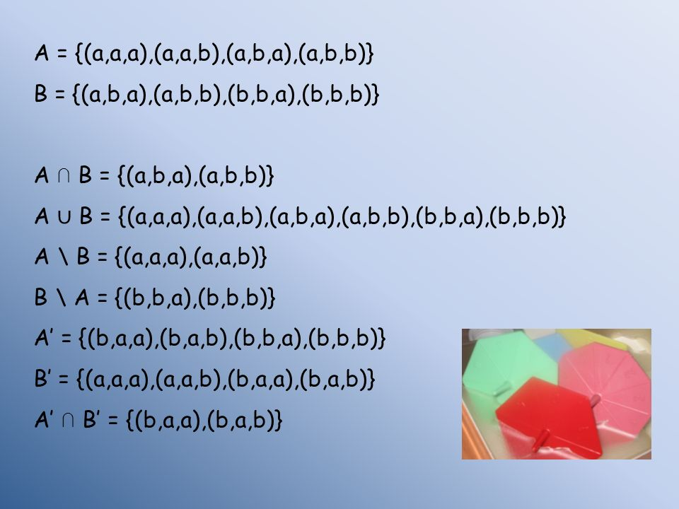 A = {(a,a,a),(a,a,b),(a,b,a),(a,b,b)}