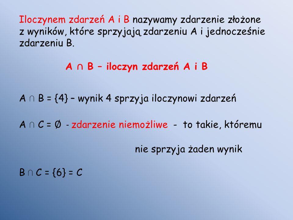 Iloczynem zdarzeń A i B nazywamy zdarzenie złożone z wyników, które sprzyjają zdarzeniu A i jednocześnie zdarzeniu B.