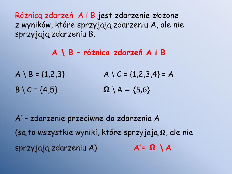 Różnicą zdarzeń A i B jest zdarzenie złożone